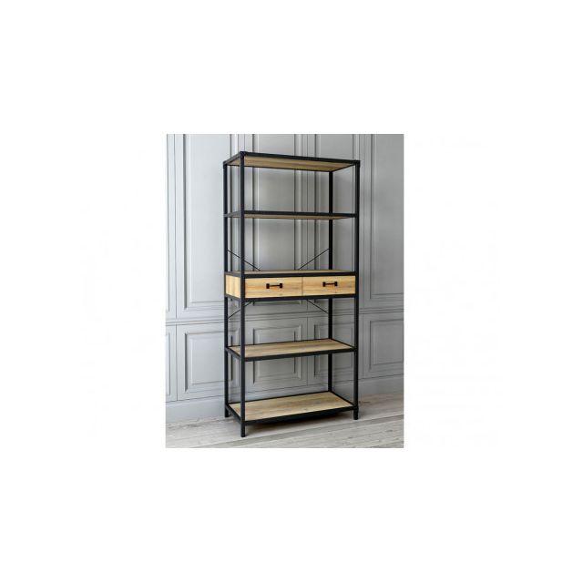 MARQUE GENERIQUE - Bibliothèque DISTRICT - 3 étagères   2 tiroirs - Coloris    Chêne e60a177e88a5