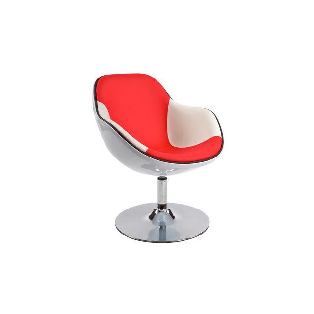 Fauteuil design 68x68x82,5cm Dayto - blanc et rouge