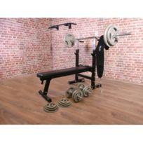 Gorilla Sports - Pack de puissance 30 éléments - banc de musculation - barre de traction - poids libres