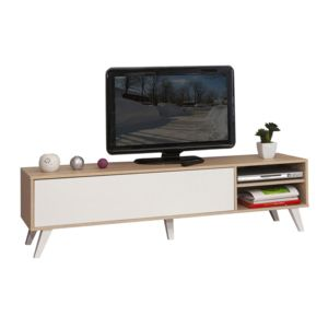 symbiosis meuble tv bas en bois avec 1 abattant et 2 niches prism ch ne blanc pas cher. Black Bedroom Furniture Sets. Home Design Ideas