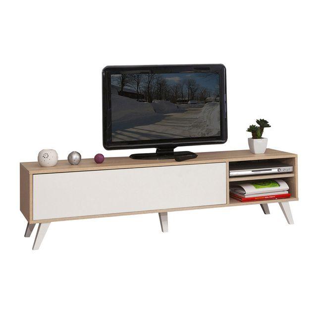 Symbiosis - Meuble Tv bas en bois avec 1 abattant et 2 niches Prism - Chêne/Blanc