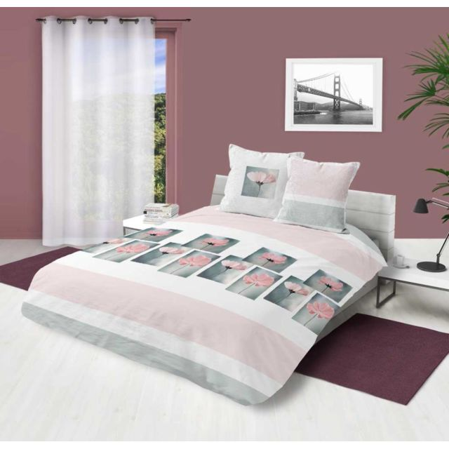 soleil d 39 ocre parure housse de couette 260x240 cm petale rose pas cher achat vente housses. Black Bedroom Furniture Sets. Home Design Ideas