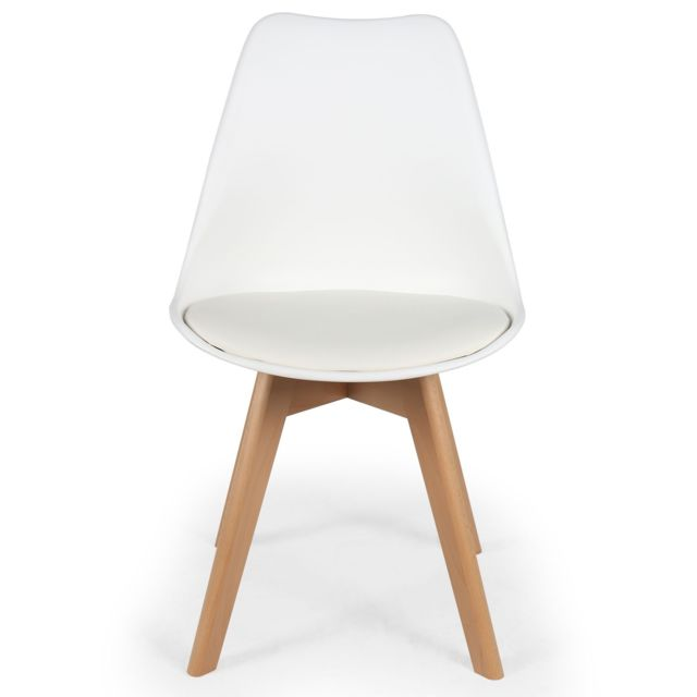Lot de 4 chaises scandinaves Conor Simili P.U, Blanc