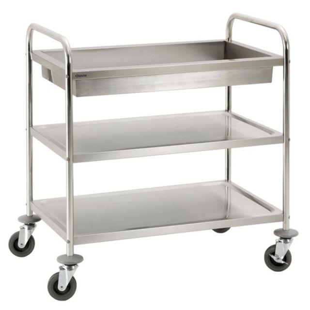 Autre Chariot de service cuisine design professionnel inox 2 étages + 1 bac max 120 kg 3614117
