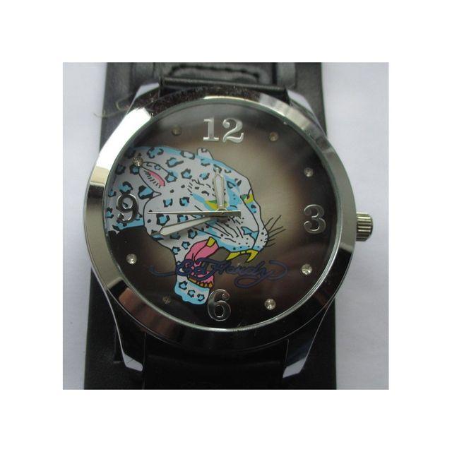 Universel montre cadran tigre rond bracelet noir style tattoo rock