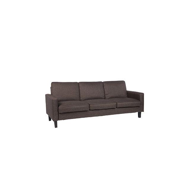 Canapé 3 places fixe en tissu brun