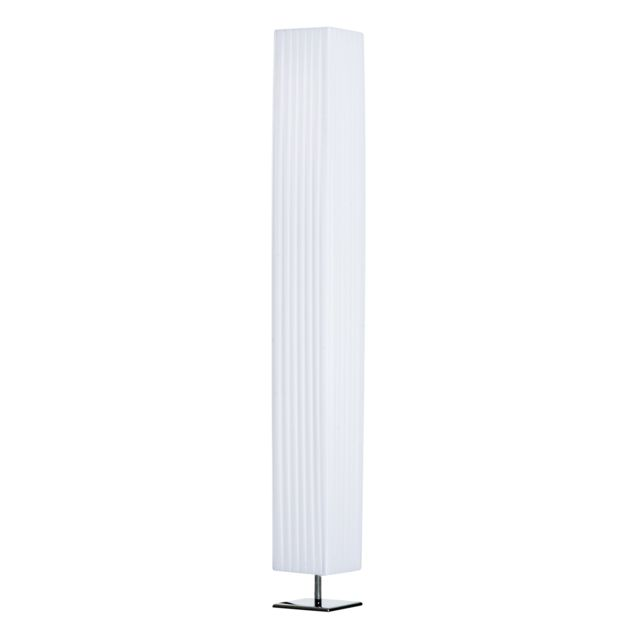 HOMCOM Lampe lampadaire colonne sur pied moderne lumière tamisée 40 W 14L x 14l x 120H cm inox blanc