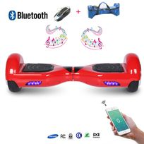 Cool&FUN Hoverboard full option Batterie Samsung Enseigne Bleutooth, Scooter électrique Auto-équilibrage,gyropode 6,5 pouces Rouge