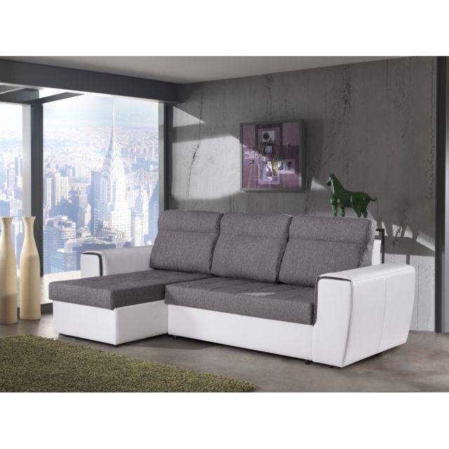 Rocambolesk Canapé d'angle convertible gris blanc Malaga