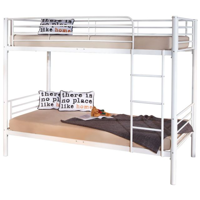 lit m tal blanc. Black Bedroom Furniture Sets. Home Design Ideas