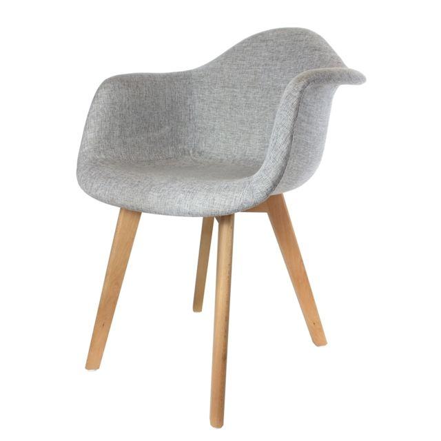 The Concept Factory Fauteuil scandinave tissu gris