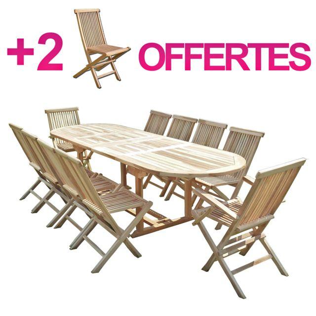 C&L Jardin - Ensemble salon de jardin en teck Henua 8 chaises 2 ...
