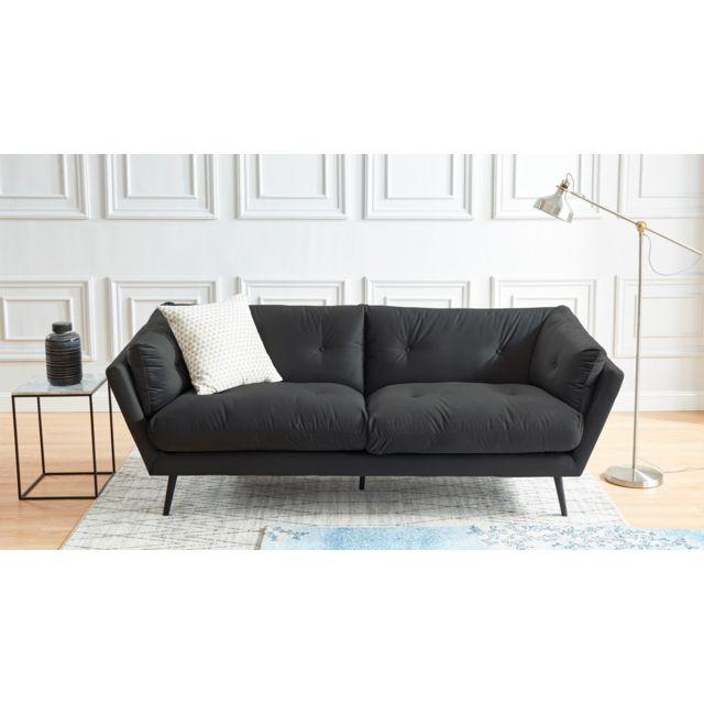 HOMIFAB Canapé moderne 3 places en tissu gris - Collection Thelma