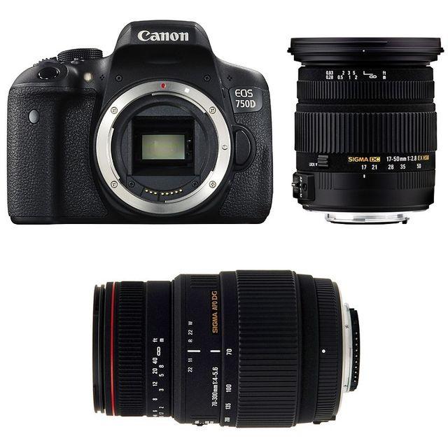 Canon Eos 750D + Sigma 17-50 F2.8 Dc Os Ex Hsm + Sigma 70-300 F4-5.6 Dg Apo Macro Garanti 3 ans
