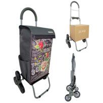 BO TIME - Chariot de courses Monte-Escalier - Double utilisation - Capacité 40L