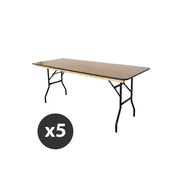 mobeventpro table pliante bois 180 cm lot de 5 76cm x 180cm x 76cm pas cher achat vente. Black Bedroom Furniture Sets. Home Design Ideas