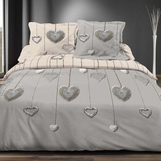 100pourcentcoton parure compl te 5 pi ces coeurs pas cher achat vente housses de couette. Black Bedroom Furniture Sets. Home Design Ideas
