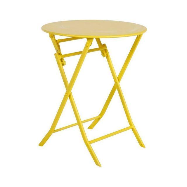 HESPERIDE - Table de jardin ronde Hespéride 60cm Greensboro citron
