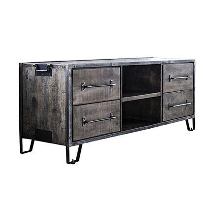 Meuble Tv 4 tiroirs 2 niches 150x46x60cm en manguier et acier - anthracite