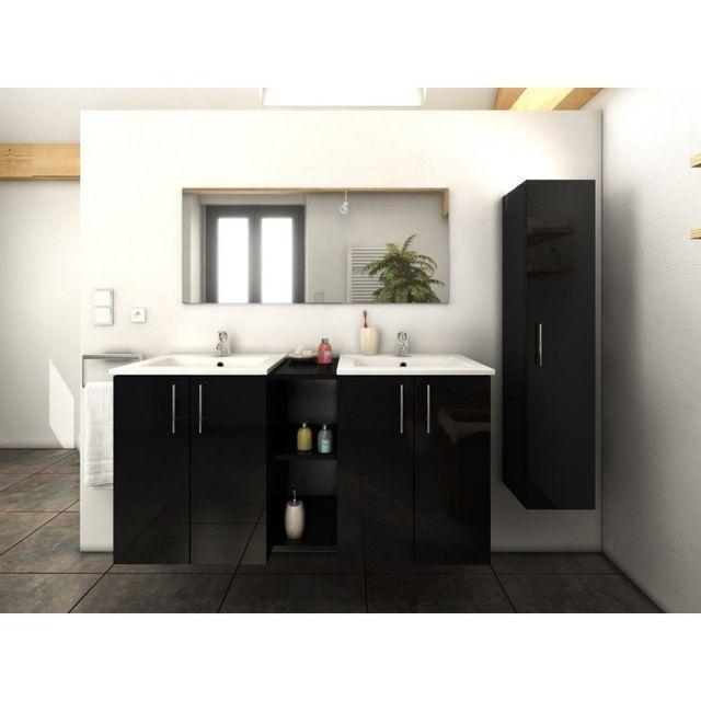 Meuble de salle de bain double vasque 120 cm + 1 colonne Noir Laura - L 120  x l 46 x H 60