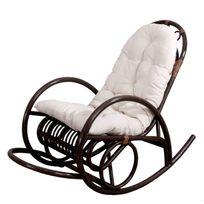 Mendler - Rocking-chair fauteuil à bascule Hwc-c40, bois marron, avec coussin