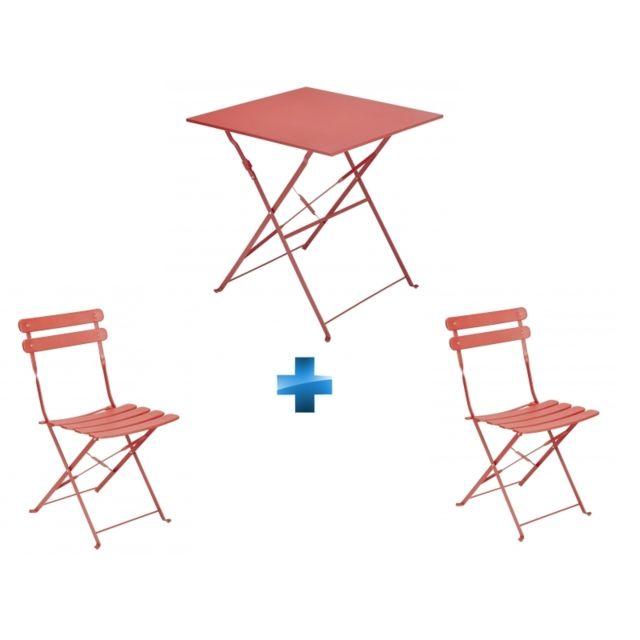 CARREFOUR - Ensemble Table Bistrot carrée pliante + 2 ...