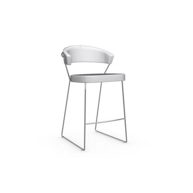 Chaise de bar New York design italienne polyuréthane façon cuir blanc