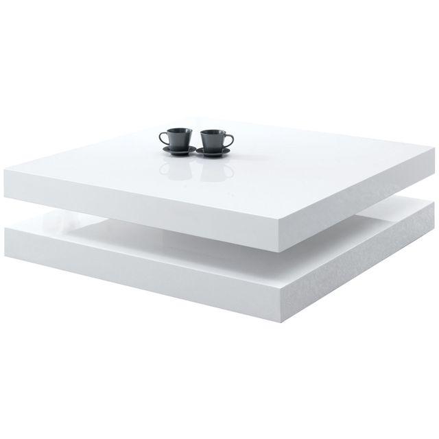 Comforium Table basse carrée en Mdf coloris blanc