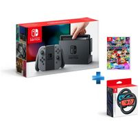 Console Switch avec une paire de Joy-Con Gris + Mario Kart 8 Deluxe + Paire de volants Joy-Con Switch
