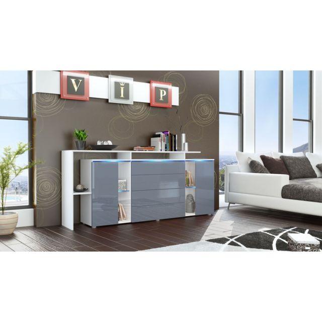 Mpc Buffet design vitré blanc et gris avec led 185 cm