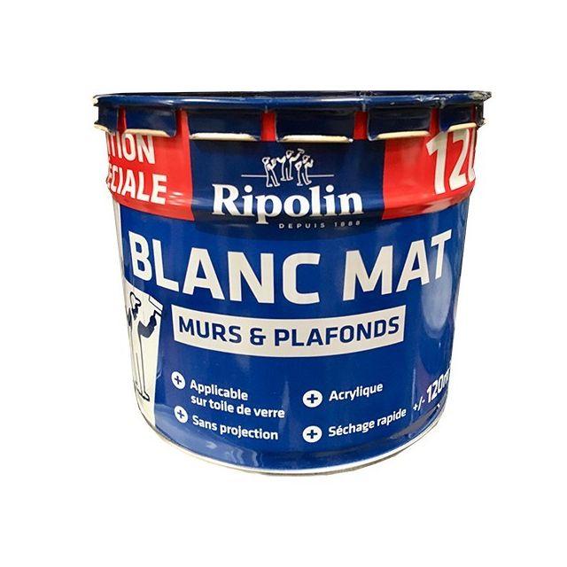 Peinture Blanc Mat Murs Plafonds 12l
