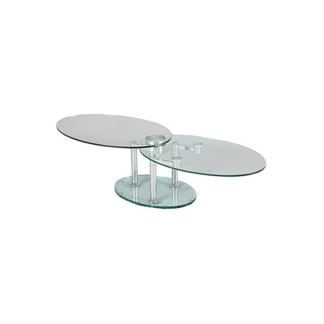 Table basse 2 plateaux ovales en verre trempé transparent Glass