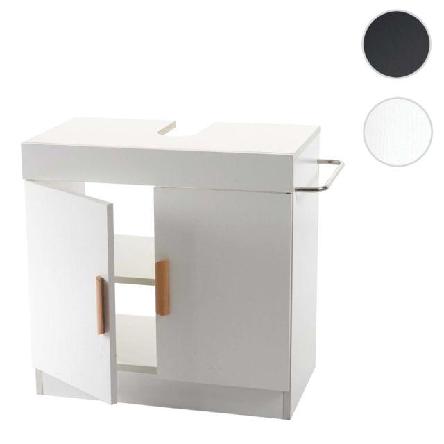 Mendler Meuble sous évier Hwc-d55, meuble sous vasque avec compartiment de rangement, salle de bain ~ blanc