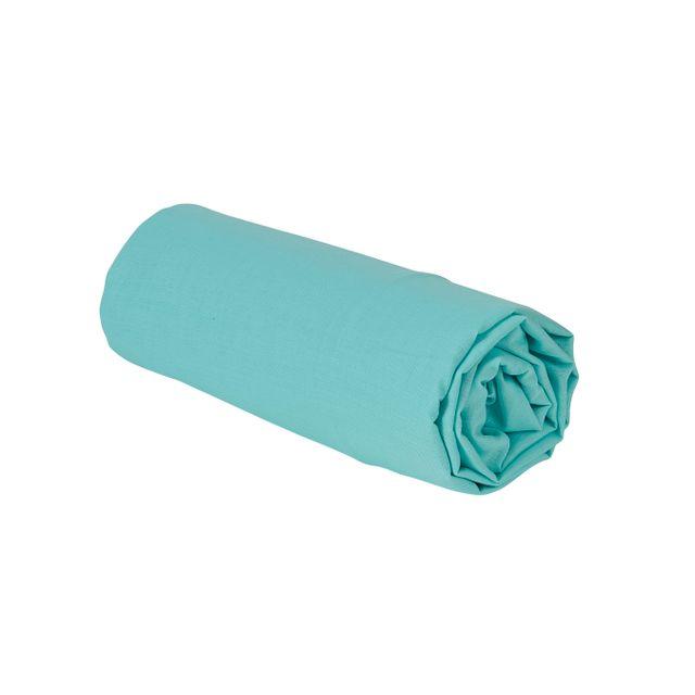 tex home drap plat uni en coton bleu clair 300cm x 240cm pas cher achat vente draps. Black Bedroom Furniture Sets. Home Design Ideas