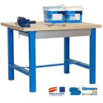 Simon Rack - Kit Etabli avec tiroir 865x1500x750mm Bleu/Bois - Bt6 Plywood Box 1500