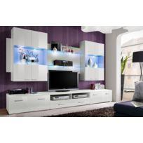 Asm-mdlt - Ensemble meuble Tv mural Space en blanc de haute brillance avec Led