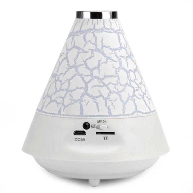 Shopinnov - Enceinte Bluetooth 2.1 + Edr avec Led couleur Mains libres Radio Fm Modele Blanc