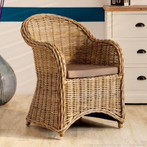jardin d 39 ulysse fauteuil rotin avec coussin beige loft pas cher achat vente fauteuils. Black Bedroom Furniture Sets. Home Design Ideas