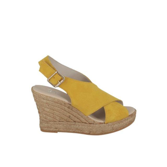 Walk And Love Sandales compensée croisée Citron
