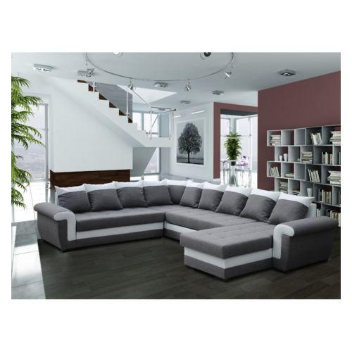 g n rique canap d 39 angle r versible et convertible latte gris et blanc 158cm x 317cm x 88cm. Black Bedroom Furniture Sets. Home Design Ideas