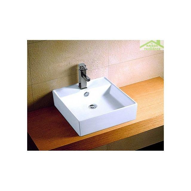 vasque carre a poser Karag - Vasque carré à poser sur un meuble de bain 41x41x15 cm en céramique