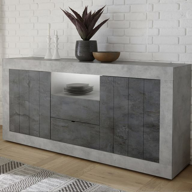 Kasalinea Buffet 180 cm gris effet béton moderne Mabel 7