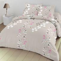 Best Interior - Parure de couette 100% coton Flora - taupe - housse-de-couette-200x200-cm