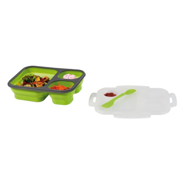 Kitchen Artist Lunch box 3 compartiments couverts vert