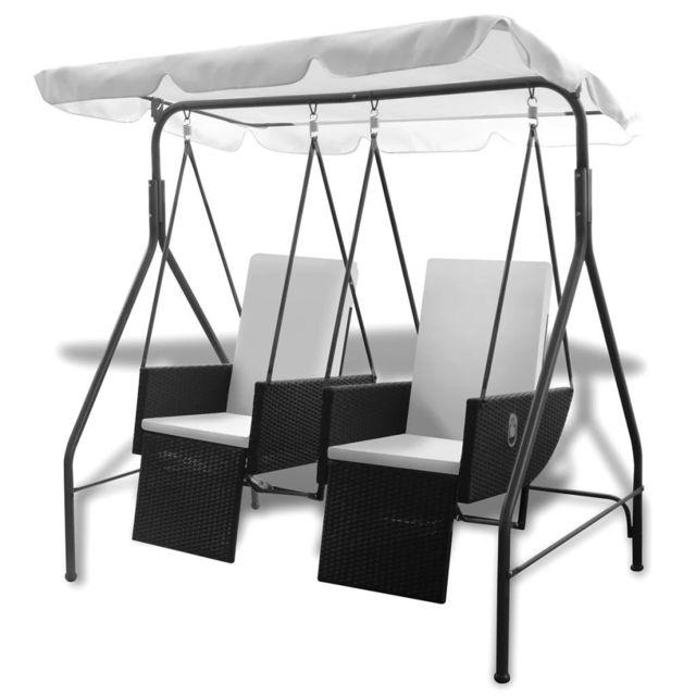 Joli Vie en extérieur ligne Berne Balancelle noire 2 places avec fauteuils inclinables en ploryrotin