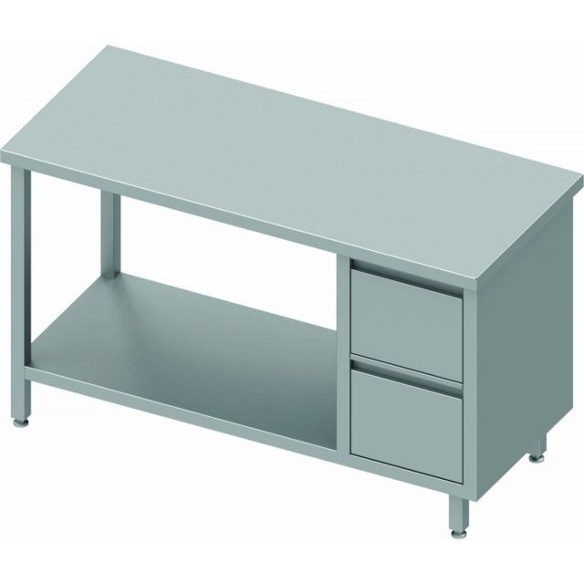 Materiel Chr Pro Table Inox Pro Avec Tiroir & Etagère - Sans Dosseret - Gamme 800 - Stalgast - inox 800x800 800