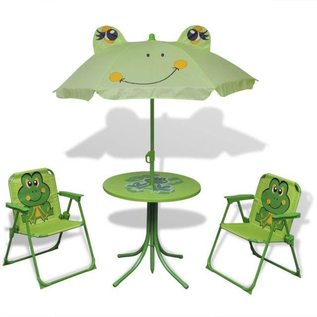 VIDAXL Jeu de bistro avec parasol pour enfants Vert | Vert