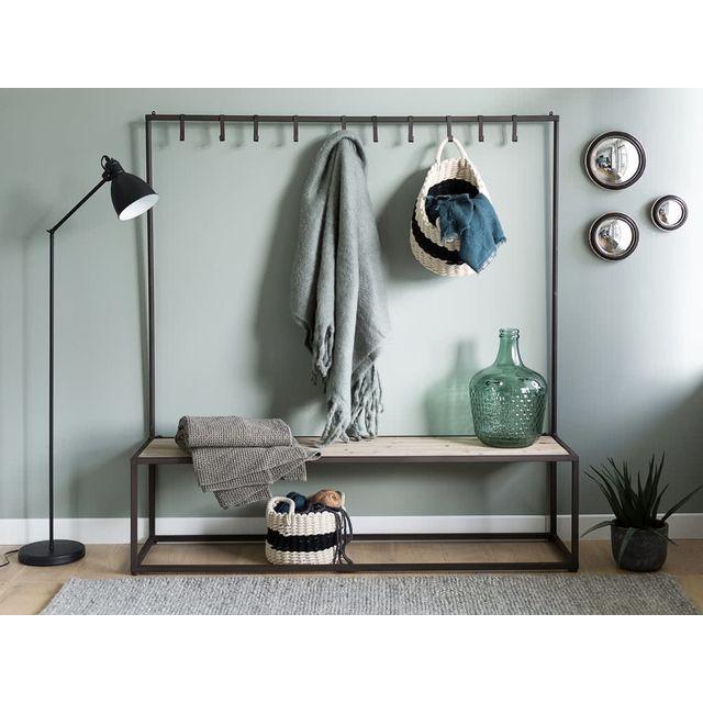 Decoris - Panier de rangement rond avec anse en coton bicolore - Set de 3 Pali Beige