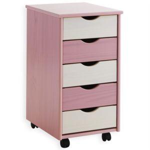 idimex caisson de bureau sur roulettes 5t blanc rose pas cher achat vente caissons. Black Bedroom Furniture Sets. Home Design Ideas