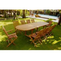 Kajang Salon en teck massif table ovale 12 pers + 8 chaises + 2 fauteuils